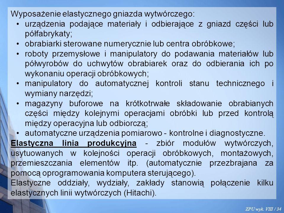 ZPU wyk. VIII / 34 Wyposażenie elastycznego gniazda wytwórczego: urządzenia podające materiały i odbierające z gniazd części lub półfabrykaty; obrabia