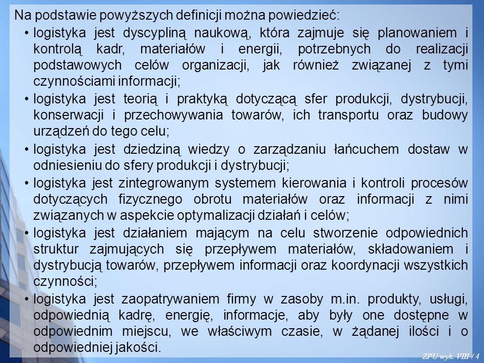 ZPU wyk. VIII / 4 Na podstawie powyższych definicji można powiedzieć: logistyka jest dyscypliną naukową, która zajmuje się planowaniem i kontrolą kadr