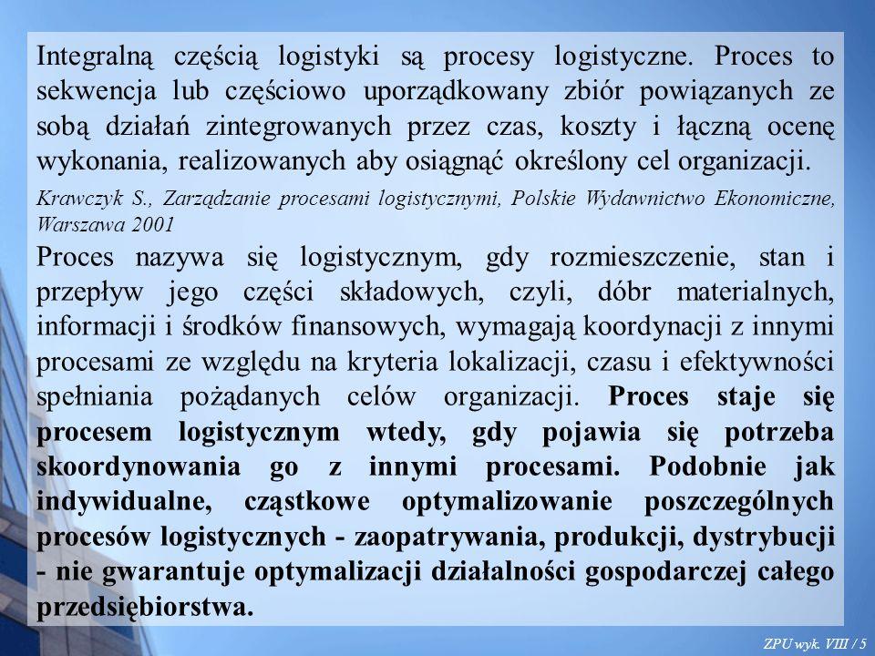 ZPU wyk. VIII / 5 Integralną częścią logistyki są procesy logistyczne. Proces to sekwencja lub częściowo uporządkowany zbiór powiązanych ze sobą dział