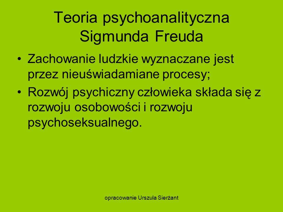 Teoria psychoanalityczna Sigmunda Freuda Zachowanie ludzkie wyznaczane jest przez nieuświadamiane procesy; Rozwój psychiczny człowieka składa się z rozwoju osobowości i rozwoju psychoseksualnego.