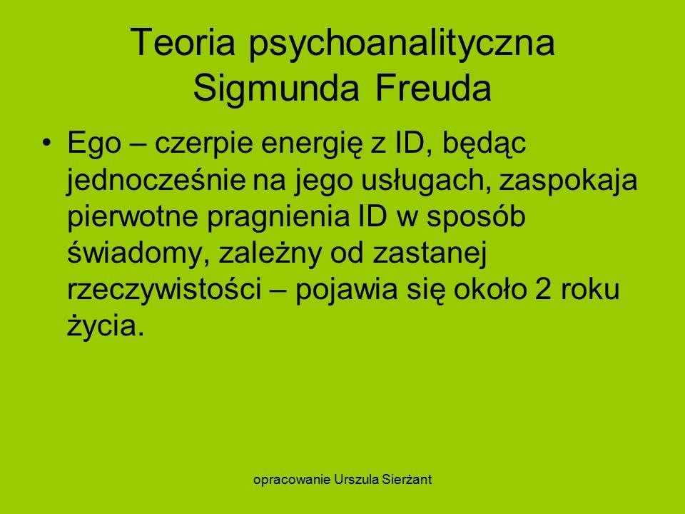 Teoria psychoanalityczna Sigmunda Freuda Ego – czerpie energię z ID, będąc jednocześnie na jego usługach, zaspokaja pierwotne pragnienia ID w sposób świadomy, zależny od zastanej rzeczywistości – pojawia się około 2 roku życia.