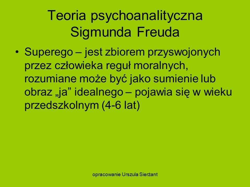 """Teoria psychoanalityczna Sigmunda Freuda Superego – jest zbiorem przyswojonych przez człowieka reguł moralnych, rozumiane może być jako sumienie lub obraz """"ja idealnego – pojawia się w wieku przedszkolnym (4-6 lat) opracowanie Urszula Sierżant"""