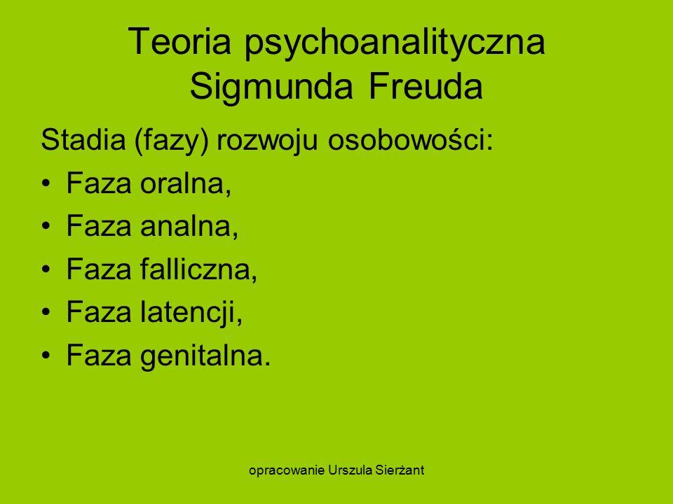 Teoria psychoanalityczna Sigmunda Freuda Stadia (fazy) rozwoju osobowości: Faza oralna, Faza analna, Faza falliczna, Faza latencji, Faza genitalna.