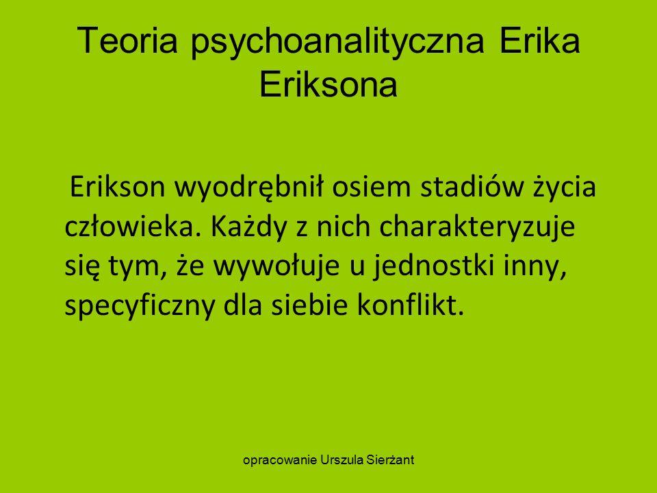 Teoria psychoanalityczna Erika Eriksona Erikson wyodrębnił osiem stadiów życia człowieka.