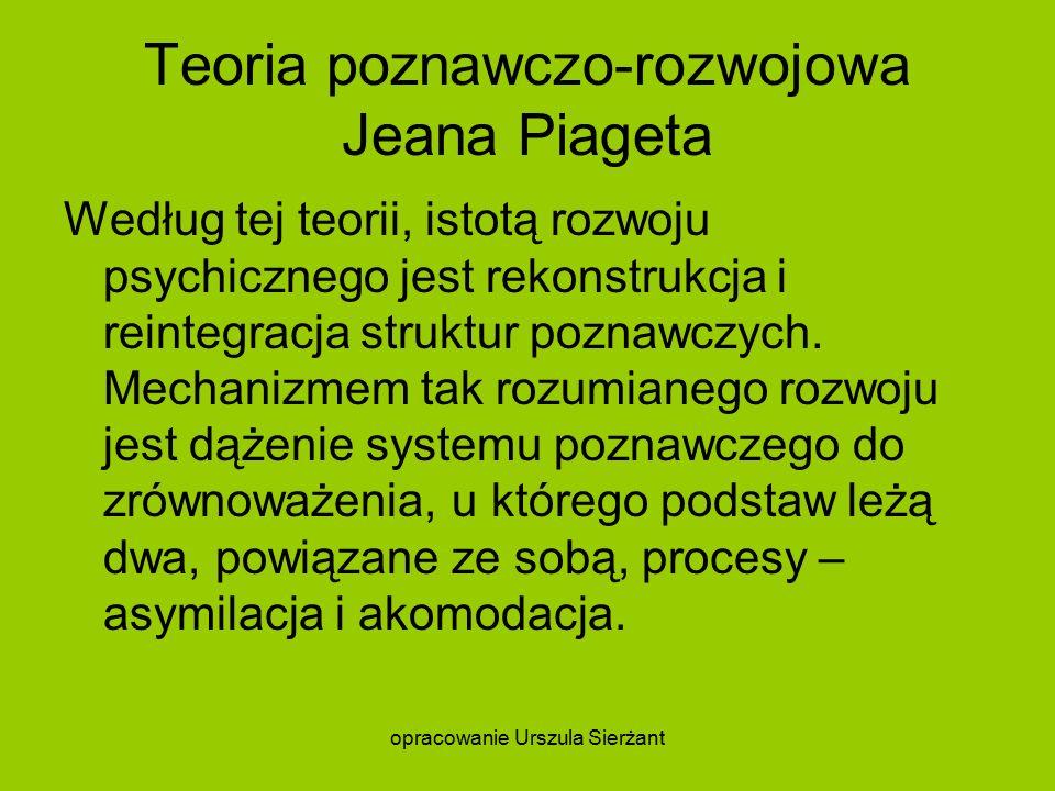 Teoria poznawczo-rozwojowa Jeana Piageta Według tej teorii, istotą rozwoju psychicznego jest rekonstrukcja i reintegracja struktur poznawczych.
