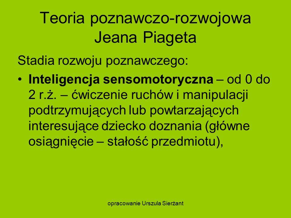Teoria poznawczo-rozwojowa Jeana Piageta Stadia rozwoju poznawczego: Inteligencja sensomotoryczna – od 0 do 2 r.ż.