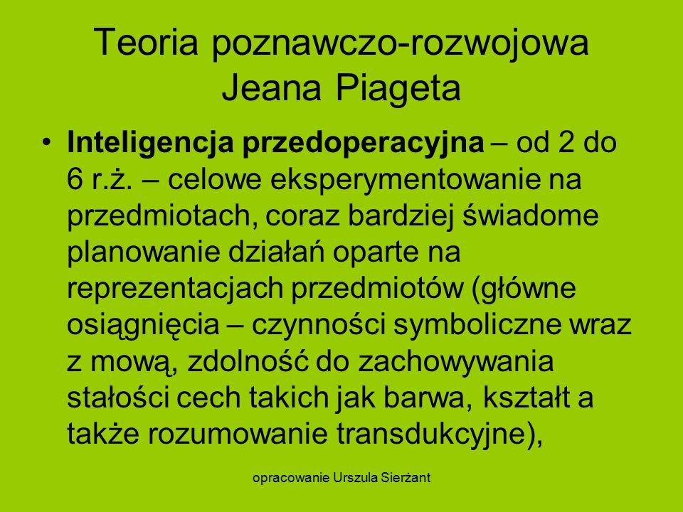 Teoria poznawczo-rozwojowa Jeana Piageta Inteligencja przedoperacyjna – od 2 do 6 r.ż.