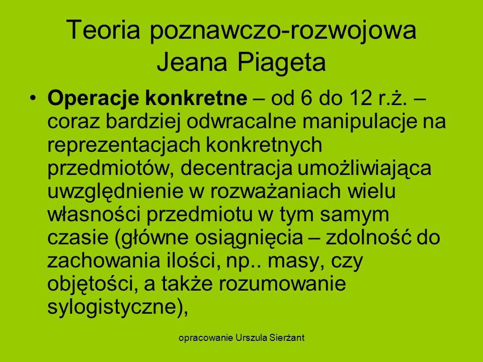 Teoria poznawczo-rozwojowa Jeana Piageta Operacje konkretne – od 6 do 12 r.ż.