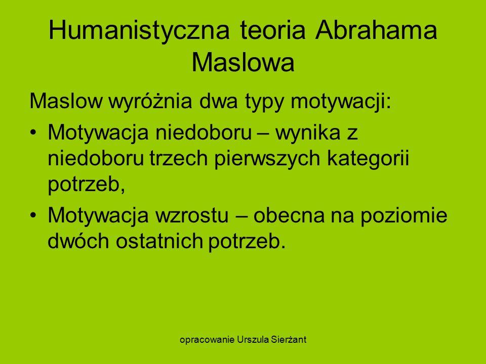 Humanistyczna teoria Abrahama Maslowa Maslow wyróżnia dwa typy motywacji: Motywacja niedoboru – wynika z niedoboru trzech pierwszych kategorii potrzeb, Motywacja wzrostu – obecna na poziomie dwóch ostatnich potrzeb.