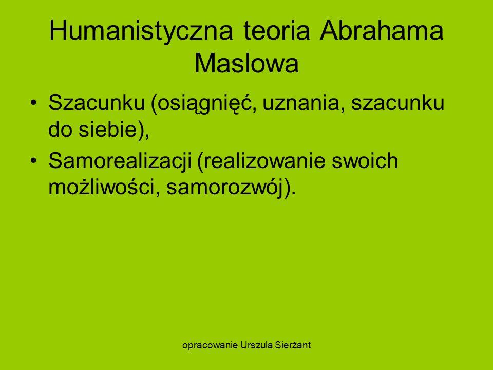 Humanistyczna teoria Abrahama Maslowa Szacunku (osiągnięć, uznania, szacunku do siebie), Samorealizacji (realizowanie swoich możliwości, samorozwój).