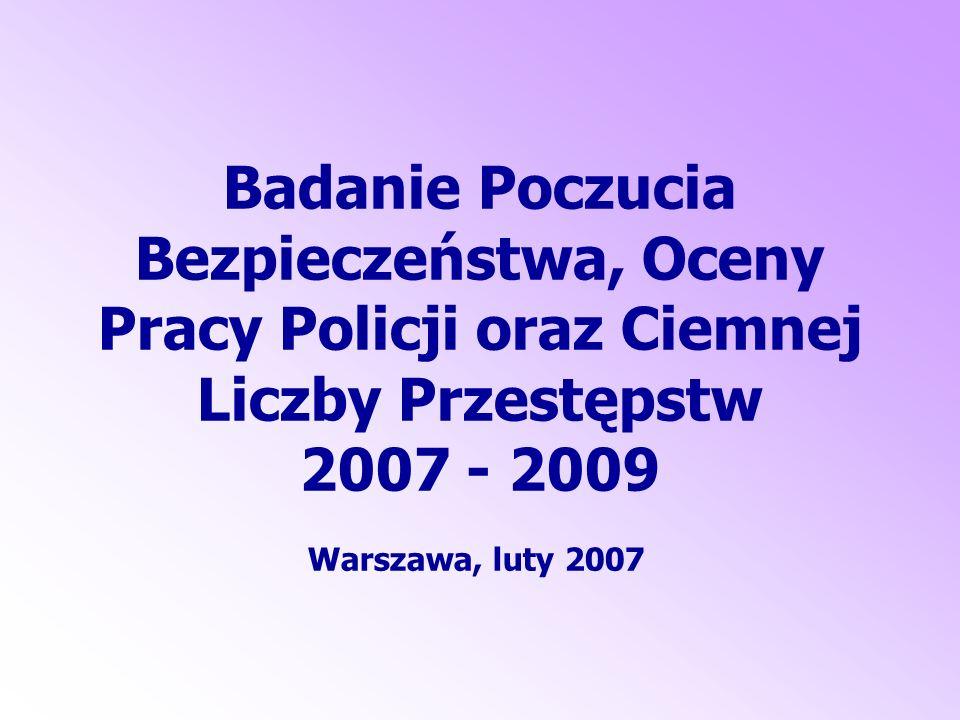 Badanie Poczucia Bezpieczeństwa, Oceny Pracy Policji oraz Ciemnej Liczby Przestępstw 2007 - 2009 Warszawa, luty 2007