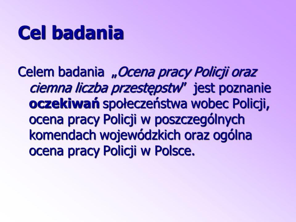 """Cel badania Celem badania """"Ocena pracy Policji oraz ciemna liczba przestępstw jest poznanie oczekiwań społeczeństwa wobec Policji, ocena pracy Policji w poszczególnych komendach wojewódzkich oraz ogólna ocena pracy Policji w Polsce."""