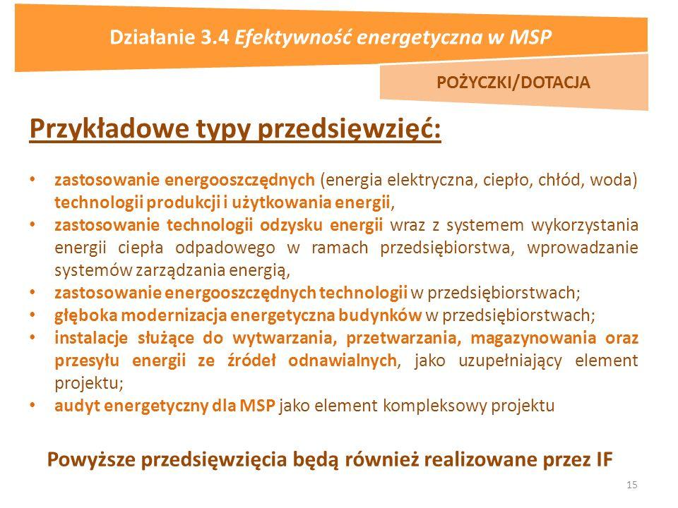 15 Przykładowe typy przedsięwzięć: zastosowanie energooszczędnych (energia elektryczna, ciepło, chłód, woda) technologii produkcji i użytkowania energii, zastosowanie technologii odzysku energii wraz z systemem wykorzystania energii ciepła odpadowego w ramach przedsiębiorstwa, wprowadzanie systemów zarządzania energią, zastosowanie energooszczędnych technologii w przedsiębiorstwach; głęboka modernizacja energetyczna budynków w przedsiębiorstwach; instalacje służące do wytwarzania, przetwarzania, magazynowania oraz przesyłu energii ze źródeł odnawialnych, jako uzupełniający element projektu; audyt energetyczny dla MSP jako element kompleksowy projektu Powyższe przedsięwzięcia będą również realizowane przez IF POŻYCZKI/DOTACJA