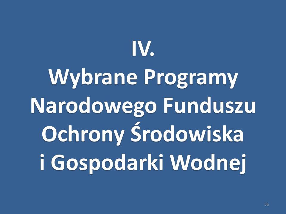 36 IV.Wybrane Programy Narodowego Funduszu Ochrony Środowiska i Gospodarki Wodnej IV.