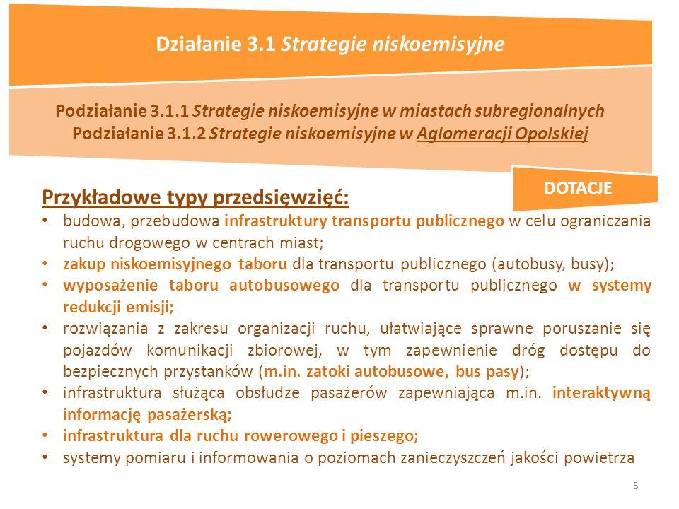 5 Podziałanie 3.1.1 Strategie niskoemisyjne w miastach subregionalnych Podziałanie 3.1.2 Strategie niskoemisyjne w Aglomeracji Opolskiej Przykładowe typy przedsięwzięć: budowa, przebudowa infrastruktury transportu publicznego w celu ograniczania ruchu drogowego w centrach miast; zakup niskoemisyjnego taboru dla transportu publicznego (autobusy, busy); wyposażenie taboru autobusowego dla transportu publicznego w systemy redukcji emisji; rozwiązania z zakresu organizacji ruchu, ułatwiające sprawne poruszanie się pojazdów komunikacji zbiorowej, w tym zapewnienie dróg dostępu do bezpiecznych przystanków (m.in.