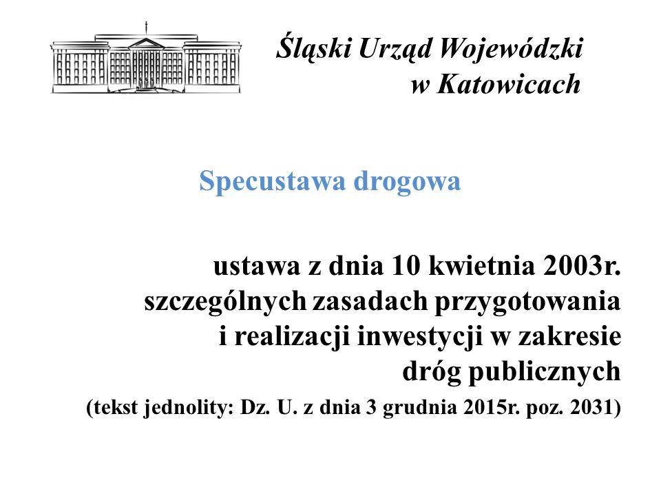 Śląski Urząd Wojewódzki w Katowicach Specustawa drogowa ustawa z dnia 10 kwietnia 2003r.