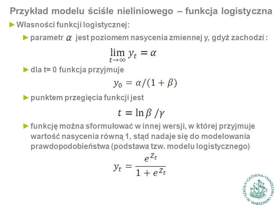 Przykład modelu ściśle nieliniowego – funkcja logistyczna ►Własności funkcji logistycznej: ►parametr jest poziomem nasycenia zmiennej y, gdyż zachodzi : ►dla t= 0 funkcja przyjmuje ►punktem przegięcia funkcji jest ►funkcję można sformułować w innej wersji, w której przyjmuje wartość nasycenia równą 1, stąd nadaje się do modelowania prawdopodobieństwa (podstawa tzw.