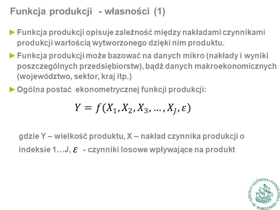 Funkcja produkcji - własności (1) ►Funkcja produkcji opisuje zależność między nakładami czynnikami produkcji wartością wytworzonego dzięki nim produktu.