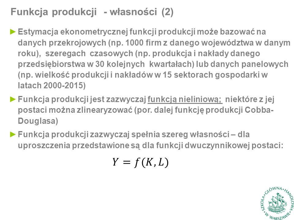 Funkcja produkcji - własności (2) ►Estymacja ekonometrycznej funkcji produkcji może bazować na danych przekrojowych (np.