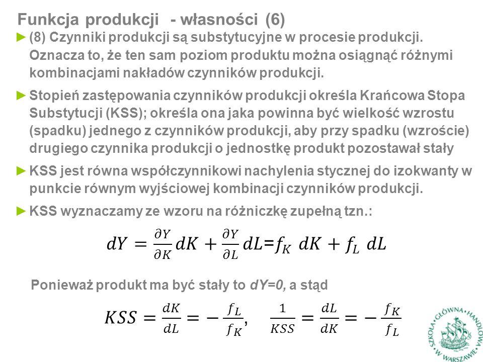 Funkcja produkcji - własności (6) ►(8) Czynniki produkcji są substytucyjne w procesie produkcji.