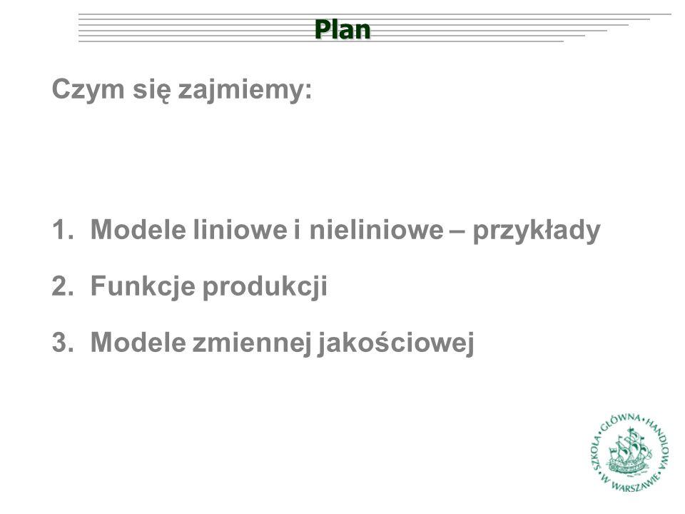 Plan Czym się zajmiemy: 1.Modele liniowe i nieliniowe – przykłady 2.Funkcje produkcji 3.Modele zmiennej jakościowej