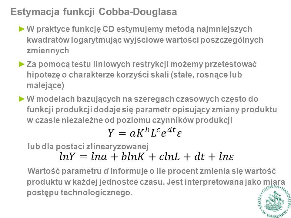 Estymacja funkcji Cobba-Douglasa ►W praktyce funkcję CD estymujemy metodą najmniejszych kwadratów logarytmując wyjściowe wartości poszczególnych zmiennych ►Za pomocą testu liniowych restrykcji możemy przetestować hipotezę o charakterze korzyści skali (stałe, rosnące lub malejące) ►W modelach bazujących na szeregach czasowych często do funkcji produkcji dodaje się parametr opisujący zmiany produktu w czasie niezależne od poziomu czynników produkcji lub dla postaci zlinearyzowanej Wartość parametru d informuje o ile procent zmienia się wartość produktu w każdej jednostce czasu.