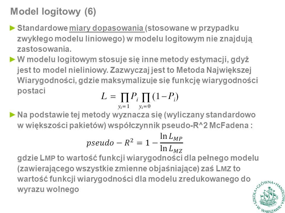 ►Standardowe miary dopasowania (stosowane w przypadku zwykłego modelu liniowego) w modelu logitowym nie znajdują zastosowania.
