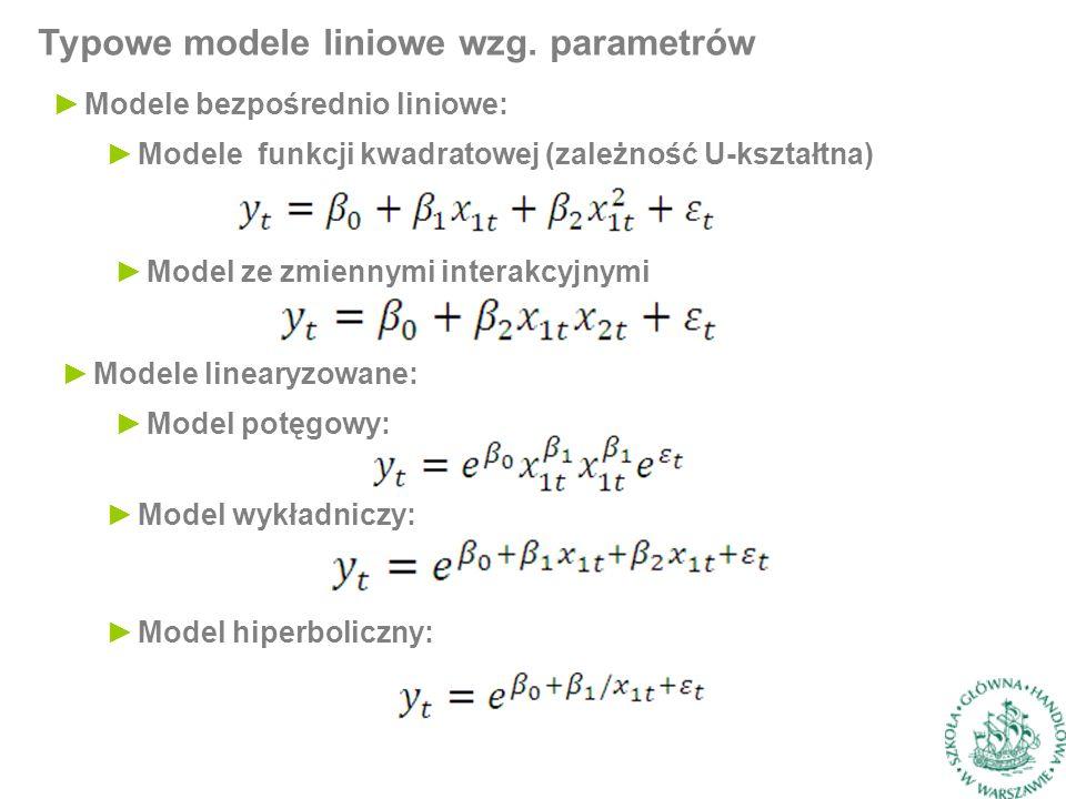 Typowe modele liniowe wzg.