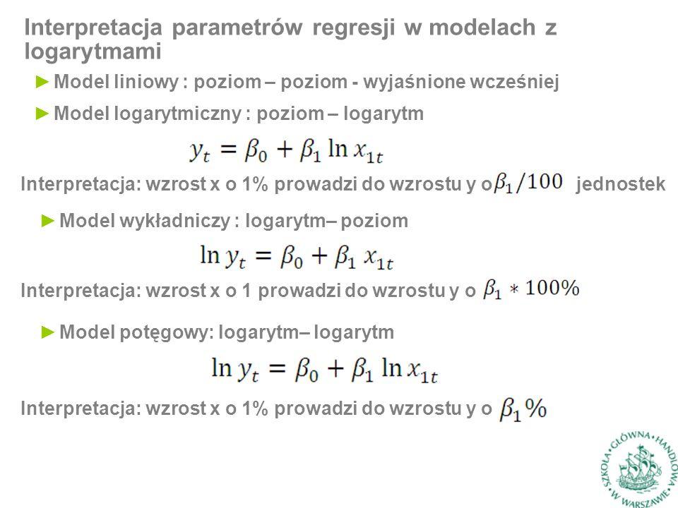 Interpretacja parametrów regresji w modelach z logarytmami ►Model liniowy : poziom – poziom - wyjaśnione wcześniej ►Model logarytmiczny : poziom – logarytm Interpretacja: wzrost x o 1% prowadzi do wzrostu y o jednostek ►Model wykładniczy : logarytm– poziom Interpretacja: wzrost x o 1 prowadzi do wzrostu y o ►Model potęgowy: logarytm– logarytm Interpretacja: wzrost x o 1% prowadzi do wzrostu y o