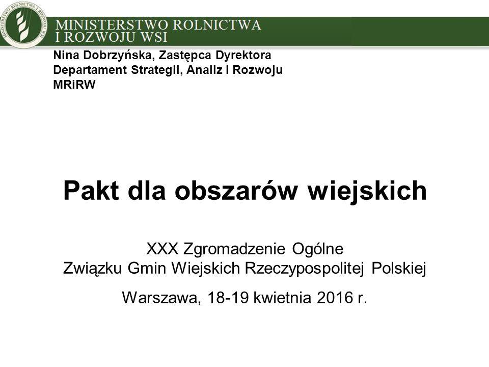 Pakt dla obszarów wiejskich XXX Zgromadzenie Ogólne Związku Gmin Wiejskich Rzeczypospolitej Polskiej Warszawa, 18-19 kwietnia 2016 r.