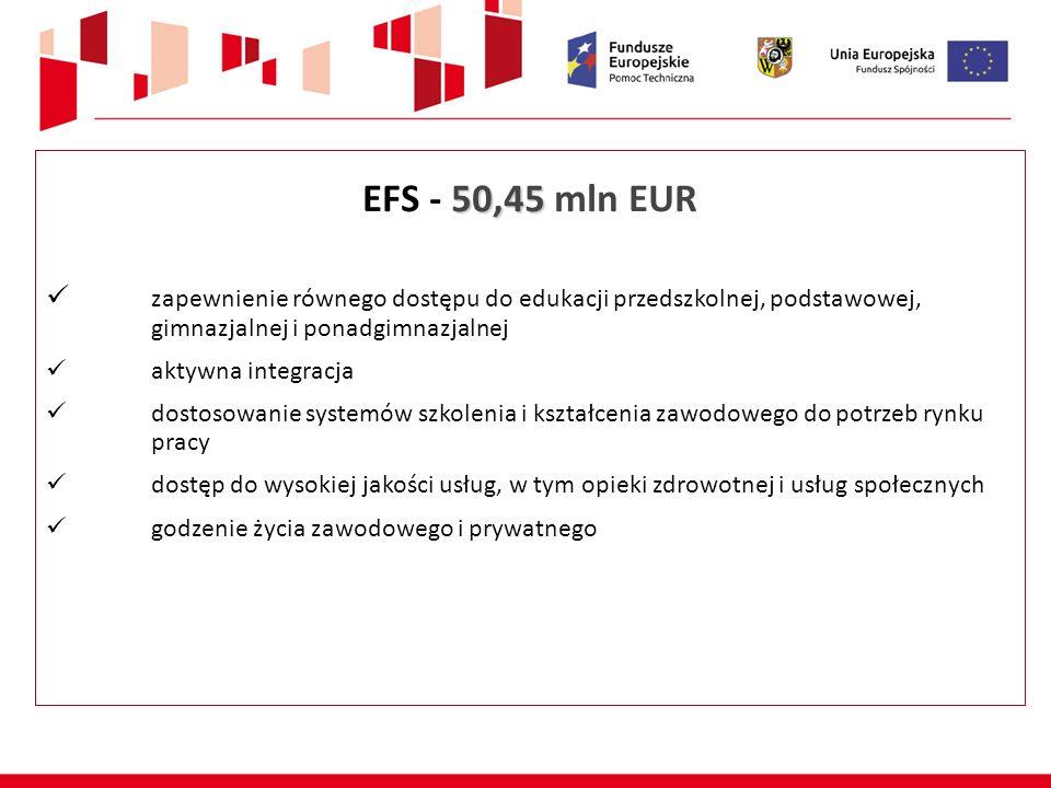 50,45 EFS - 50,45 mln EUR zapewnienie równego dostępu do edukacji przedszkolnej, podstawowej, gimnazjalnej i ponadgimnazjalnej aktywna integracja dostosowanie systemów szkolenia i kształcenia zawodowego do potrzeb rynku pracy dostęp do wysokiej jakości usług, w tym opieki zdrowotnej i usług społecznych godzenie życia zawodowego i prywatnego