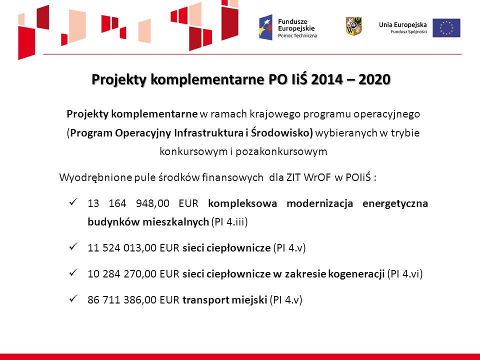 Projekty komplementarne PO IiŚ 2014 – 2020 Projekty komplementarne w ramach krajowego programu operacyjnego (Program Operacyjny Infrastruktura i Środo