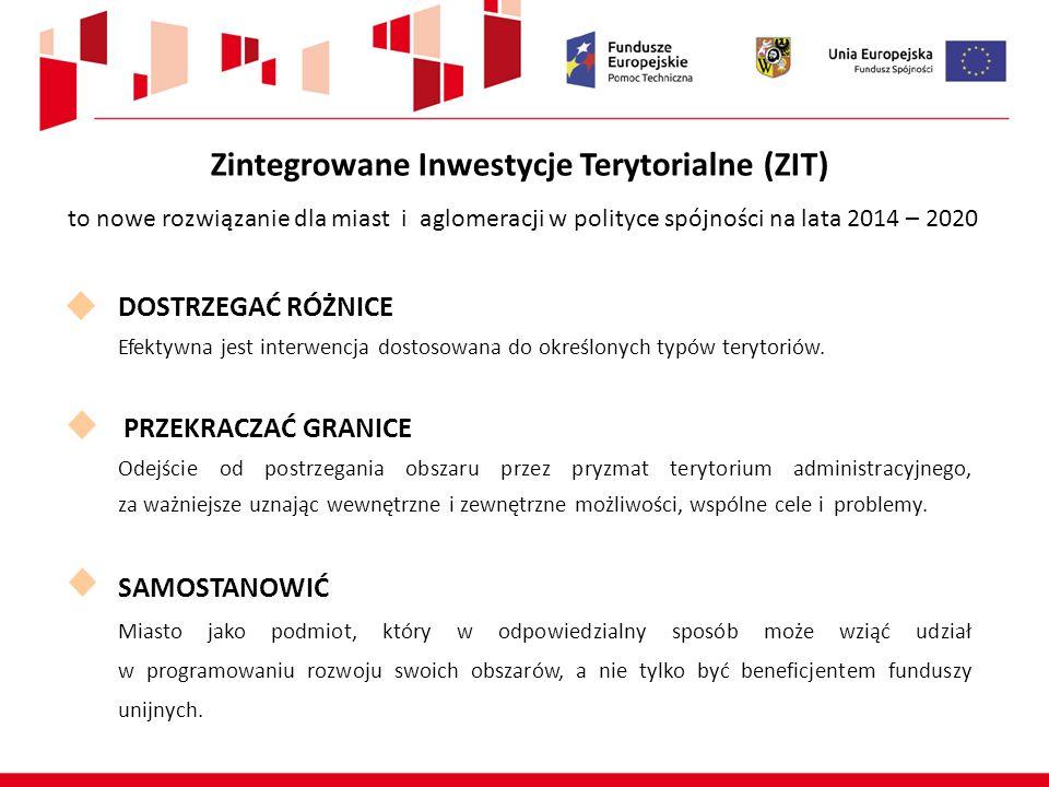 Zintegrowane Inwestycje Terytorialne (ZIT) to nowe rozwiązanie dla miast i aglomeracji w polityce spójności na lata 2014 – 2020 DOSTRZEGAĆ RÓŻNICE Efektywna jest interwencja dostosowana do określonych typów terytoriów.