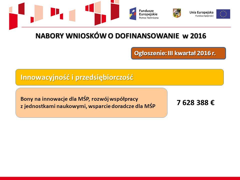 Ogłoszenie: III kwartał 2016 r. Innowacyjność i przedsiębiorczość Innowacyjność i przedsiębiorczość Bony na innowacje dla MŚP, rozwój współpracy z jed