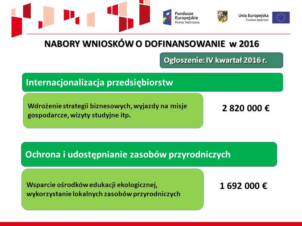 Ochrona i udostępnianie zasobów przyrodniczych Wsparcie ośrodków edukacji ekologicznej, wykorzystanie lokalnych zasobów przyrodniczych 1 692 000 € Ogłoszenie: IV kwartał 2016 r.
