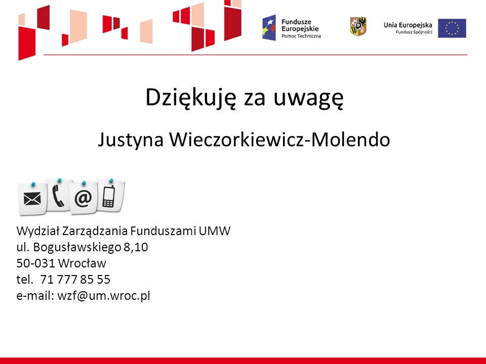Dziękuję za uwagę Justyna Wieczorkiewicz-Molendo Wydział Zarządzania Funduszami UMW ul. Bogusławskiego 8,10 50-031 Wrocław tel. 71 777 85 55 e-mail: w