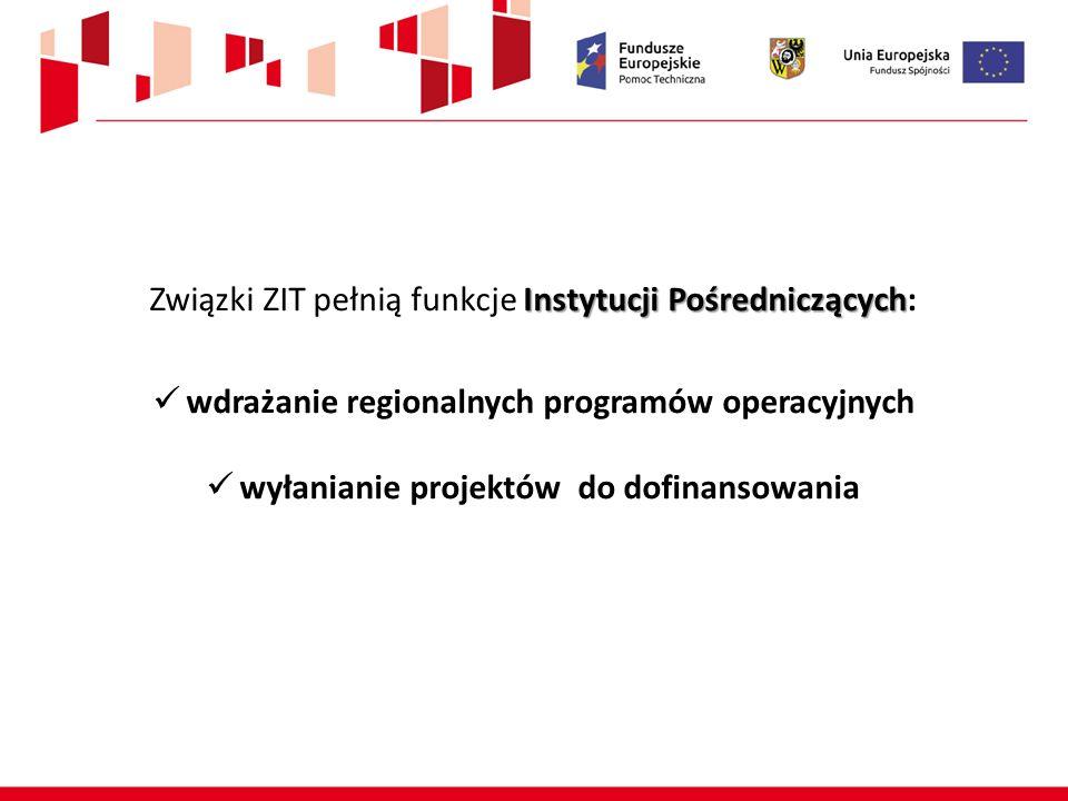 Instytucji Pośredniczących Związki ZIT pełnią funkcje Instytucji Pośredniczących: wdrażanie regionalnych programów operacyjnych wyłanianie projektów do dofinansowania