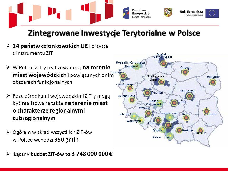 Zintegrowane Inwestycje Terytorialne w Polsce  14 państw członkowskich UE korzysta z instrumentu ZIT  W Polsce ZIT-y realizowane są na terenie miast