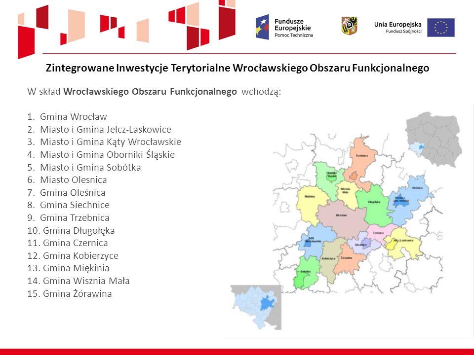 Obszar ZIT WrOF: 2 336 km 2 (12% powierzchni Dolnego Śląska) Ludność: 887 943 mieszkańców (30% mieszkańców Dolnego Śląska) 15 samorządów gminnych leżących na terenie 6 powiatów Środki UE dla ZIT WrOF 291 250 000 €