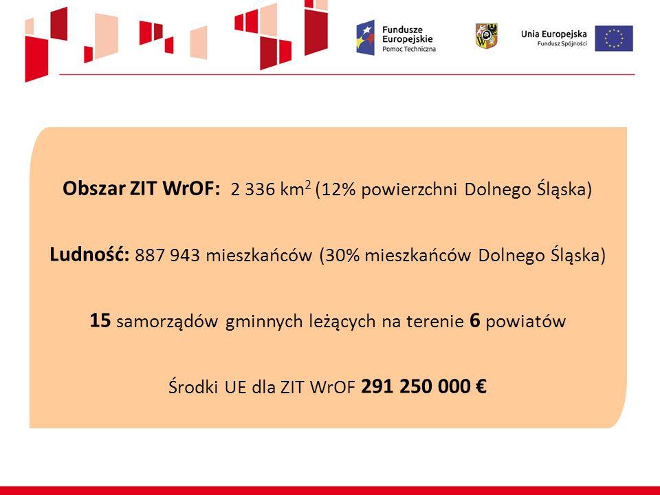 Obszar ZIT WrOF: 2 336 km 2 (12% powierzchni Dolnego Śląska) Ludność: 887 943 mieszkańców (30% mieszkańców Dolnego Śląska) 15 samorządów gminnych leżą