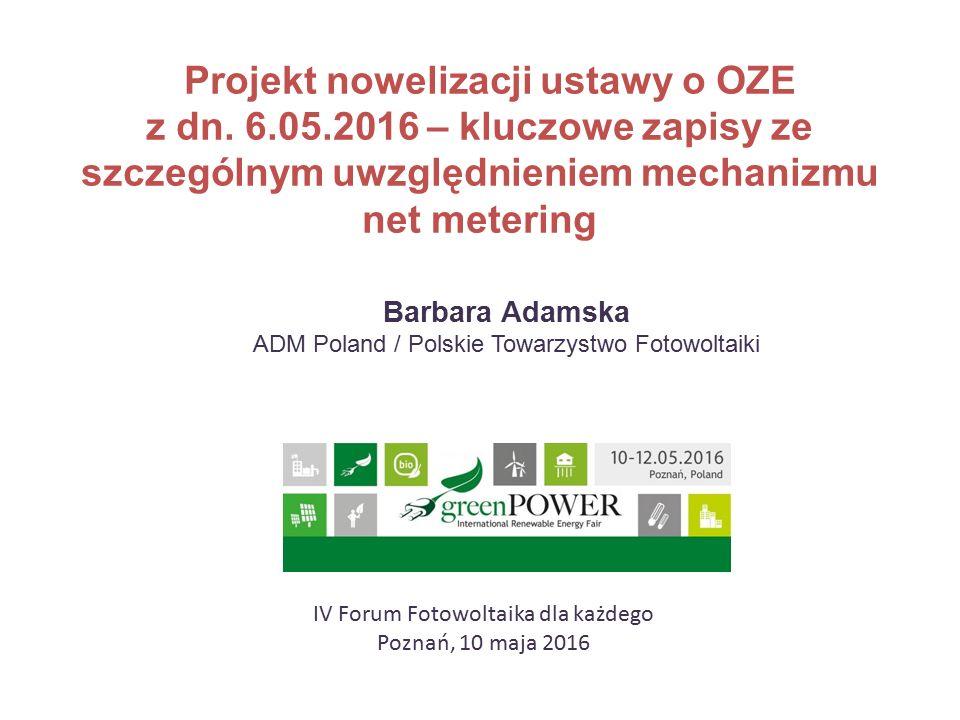 Projekt nowelizacji ustawy o OZE z dn.