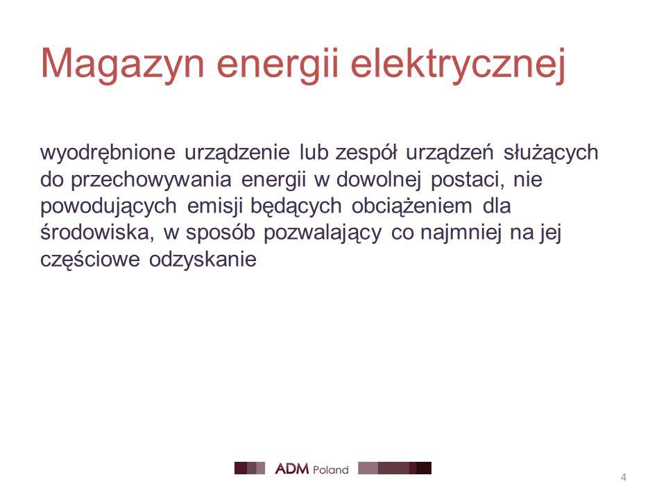 Magazyn energii elektrycznej 4 wyodrębnione urządzenie lub zespół urządzeń służących do przechowywania energii w dowolnej postaci, nie powodujących emisji będących obciążeniem dla środowiska, w sposób pozwalający co najmniej na jej częściowe odzyskanie