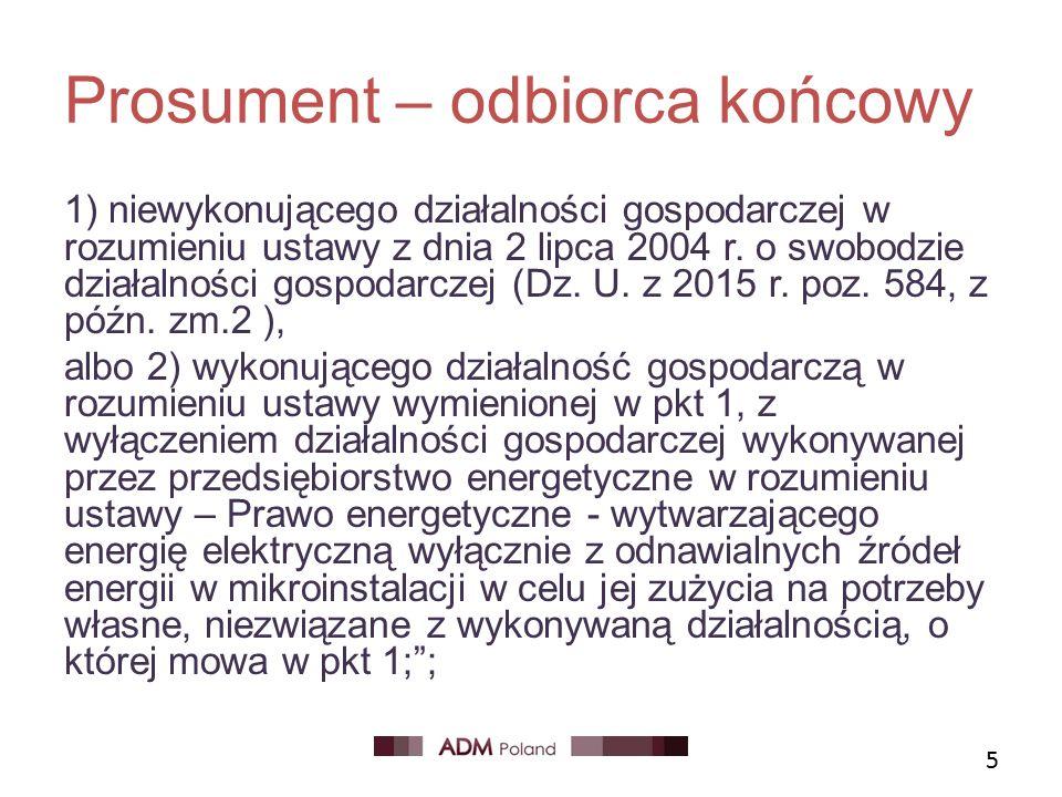 Prosument – odbiorca końcowy 1) niewykonującego działalności gospodarczej w rozumieniu ustawy z dnia 2 lipca 2004 r.