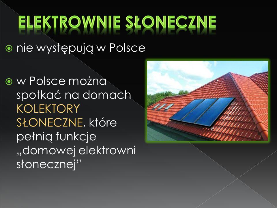 """ nie występują w Polsce  w Polsce można spotkać na domach KOLEKTORY SŁONECZNE, które pełnią funkcje """"domowej elektrowni słonecznej"""