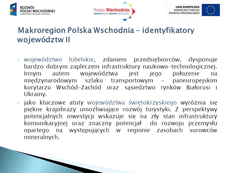 Makroregion Polska Wschodnia – identyfikatory województw II  województwo lubelskie, zdaniem przedsiębiorców, dysponuje bardzo dobrym zapleczem infras
