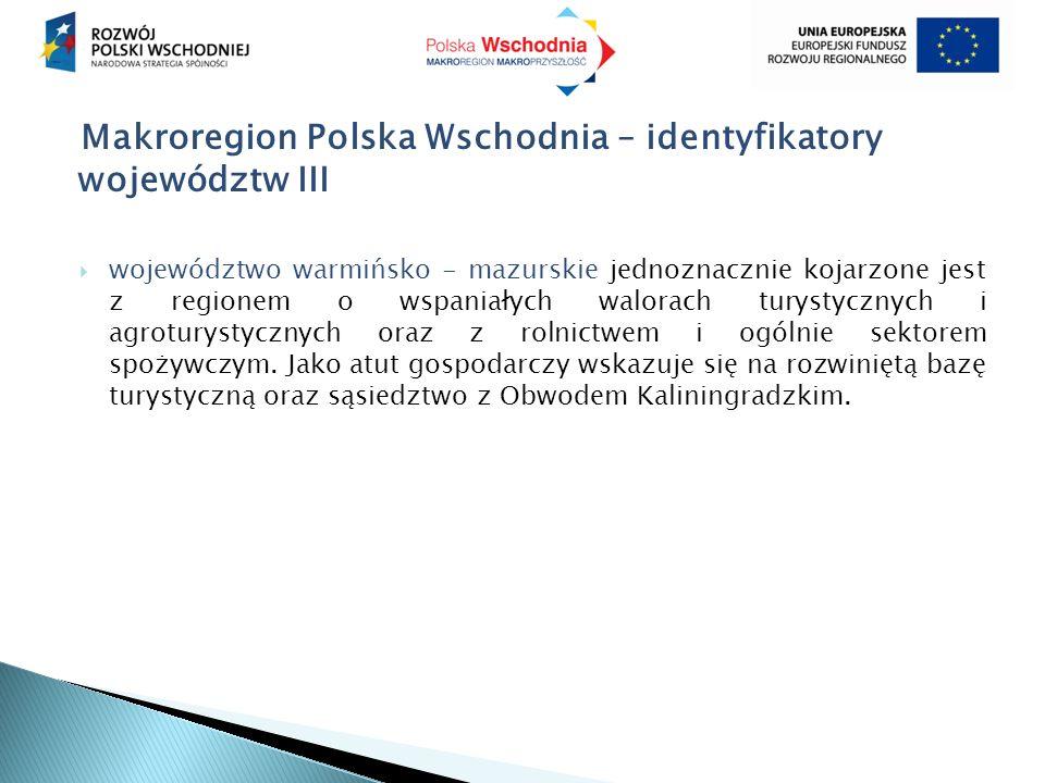 Makroregion Polska Wschodnia – identyfikatory województw III  województwo warmińsko - mazurskie jednoznacznie kojarzone jest z regionem o wspaniałych