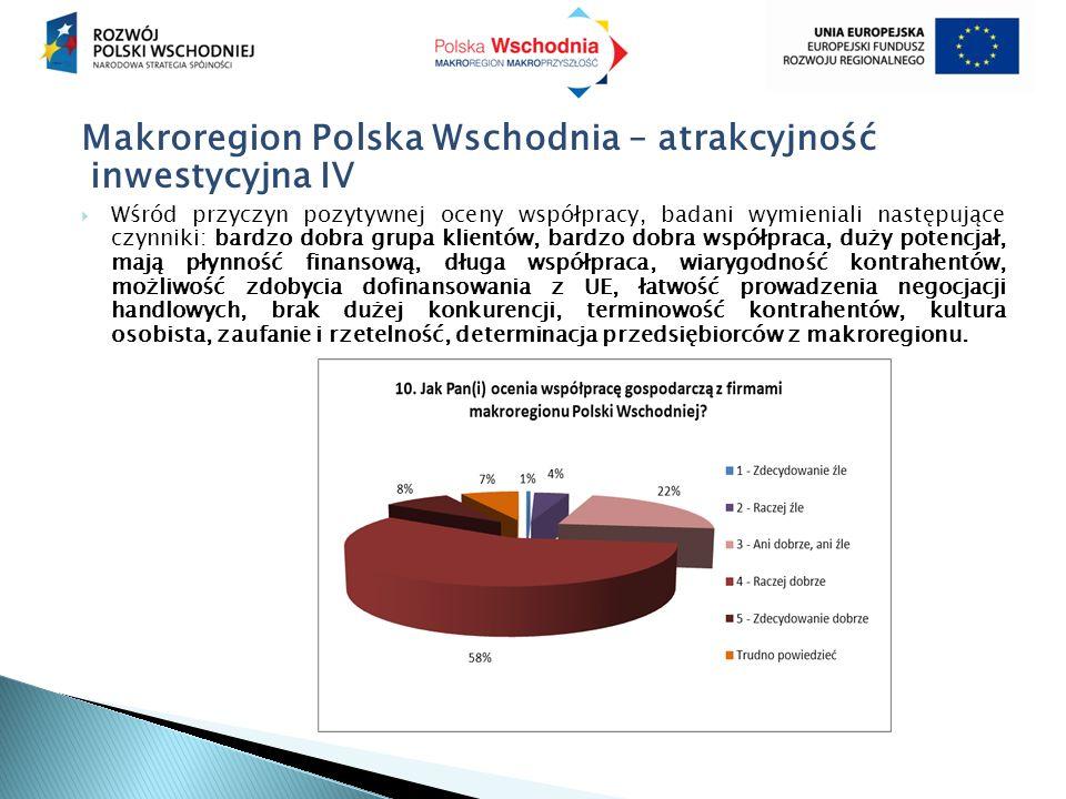 Makroregion Polska Wschodnia – atrakcyjność inwestycyjna IV  Wśród przyczyn pozytywnej oceny współpracy, badani wymieniali następujące czynniki: bardzo dobra grupa klientów, bardzo dobra współpraca, duży potencjał, mają płynność finansową, długa współpraca, wiarygodność kontrahentów, możliwość zdobycia dofinansowania z UE, łatwość prowadzenia negocjacji handlowych, brak dużej konkurencji, terminowość kontrahentów, kultura osobista, zaufanie i rzetelność, determinacja przedsiębiorców z makroregionu.