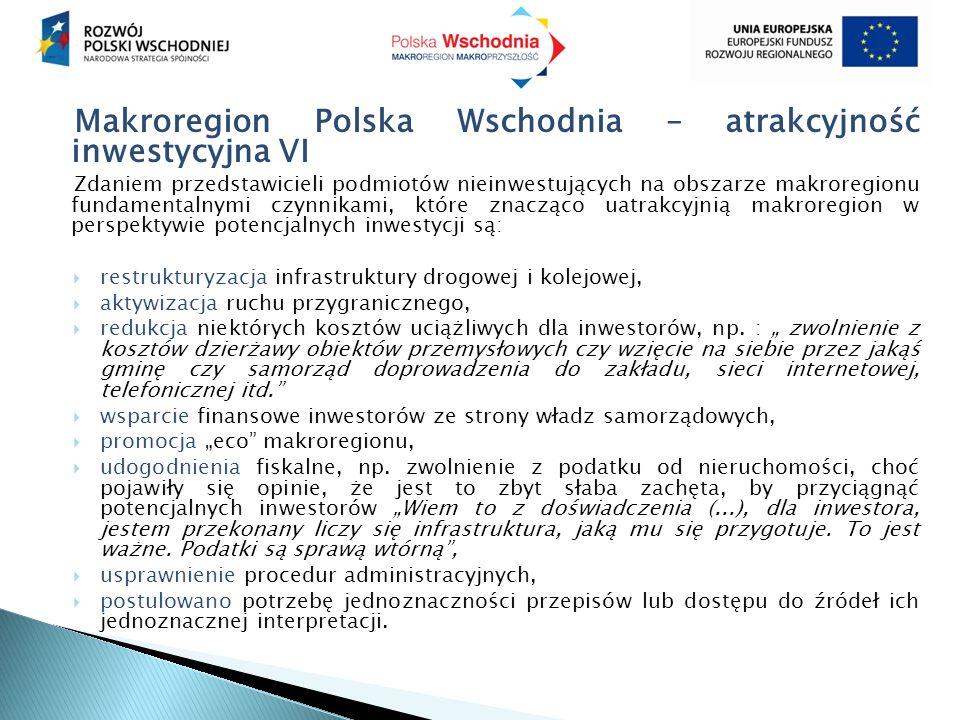 Makroregion Polska Wschodnia – atrakcyjność inwestycyjna VI Zdaniem przedstawicieli podmiotów nieinwestujących na obszarze makroregionu fundamentalnymi czynnikami, które znacząco uatrakcyjnią makroregion w perspektywie potencjalnych inwestycji są:  restrukturyzacja infrastruktury drogowej i kolejowej,  aktywizacja ruchu przygranicznego,  redukcja niektórych kosztów uciążliwych dla inwestorów, np.