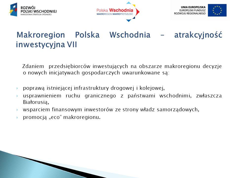 """Makroregion Polska Wschodnia – atrakcyjność inwestycyjna VII Zdaniem przedsiębiorców inwestujących na obszarze makroregionu decyzje o nowych inicjatywach gospodarczych uwarunkowane są:  poprawą istniejącej infrastruktury drogowej i kolejowej,  usprawnieniem ruchu granicznego z państwami wschodnimi, zwłaszcza Białorusią,  wsparciem finansowym inwestorów ze strony władz samorządowych,  promocją """"eco makroregionu."""