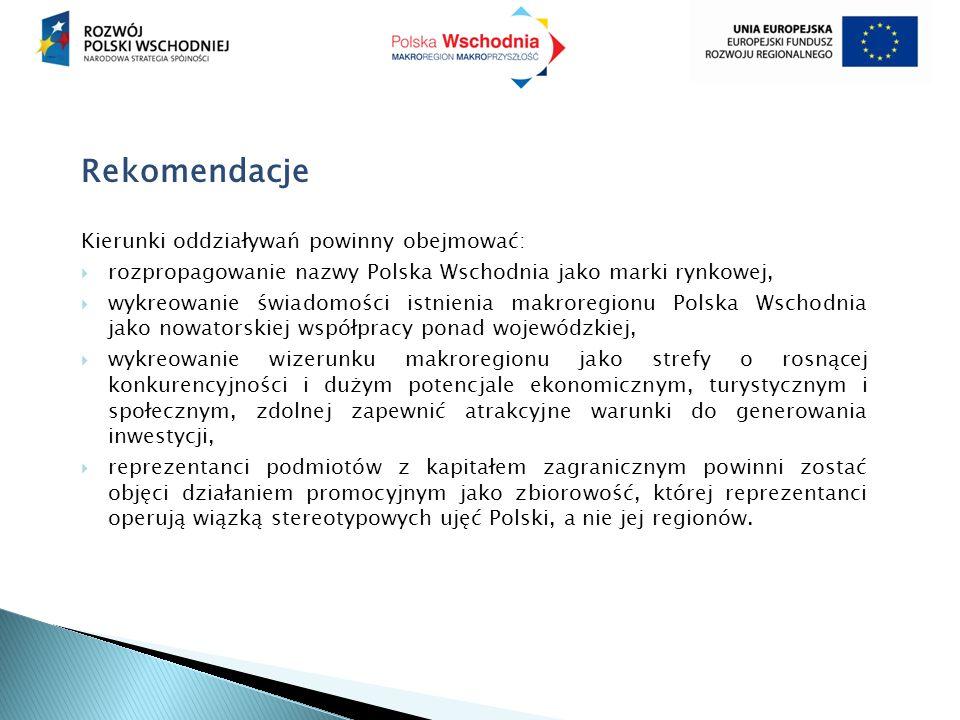Rekomendacje Kierunki oddziaływań powinny obejmować:  rozpropagowanie nazwy Polska Wschodnia jako marki rynkowej,  wykreowanie świadomości istnienia makroregionu Polska Wschodnia jako nowatorskiej współpracy ponad wojewódzkiej,  wykreowanie wizerunku makroregionu jako strefy o rosnącej konkurencyjności i dużym potencjale ekonomicznym, turystycznym i społecznym, zdolnej zapewnić atrakcyjne warunki do generowania inwestycji,  reprezentanci podmiotów z kapitałem zagranicznym powinni zostać objęci działaniem promocyjnym jako zbiorowość, której reprezentanci operują wiązką stereotypowych ujęć Polski, a nie jej regionów.